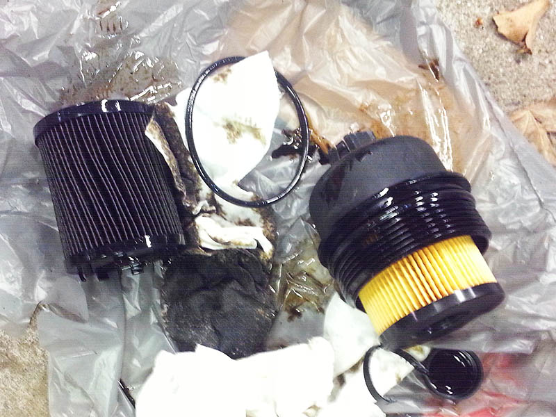 Old oil filter vs new
